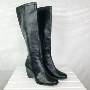 Franco Sarto Women's Black Leather Boots Knee 6